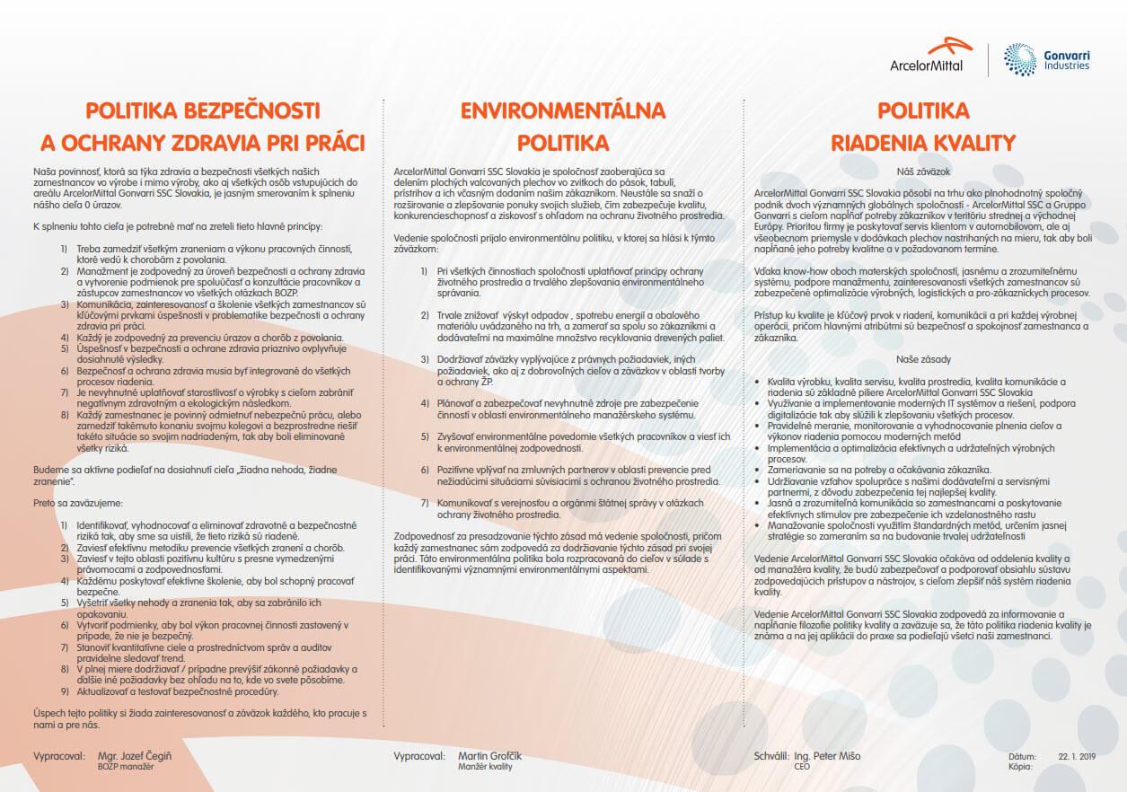 Politika kvality BOZP, OHSAS, kvalita